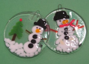 Fused Glass Christmas ornaments  Ceramic Cafe Kansas City